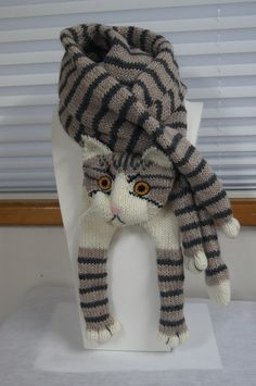 Tabby Gray Cat Scarf Knit Scarf Gray Scarf Cowl Scarf Long Knit Scarf, Winter Scarf, Christmas G Cat Scarf, Hand Knit Scarf, Grey Scarf, Long Scarf, Knitting For Kids, Loom Knitting, Baby Knitting, Yarn Sizes, Cat Lover Gifts