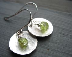 Peridot Earrings, Metalwork Peridot Hammered Silver Dome Handmade Earrings, Handmade Earrings, FREE Worldwide Shipping