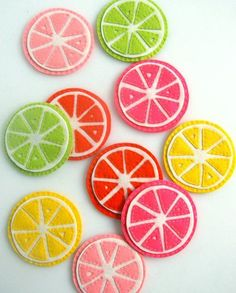 Ever since the weather turned warm, I've had visions of pink lemonade and iced tea with lime wedges dancing in my head.  Summer also puts me in the mood to entertain so I thought it would be fun to have a set of coasters to match this citrus drink theme. I love to have a summer sewing project that is portable so I can take it with me to the beach! Felt is often my material of choice for portable projects since it's ideal for hand sewing.  It's also great for making durable home it...