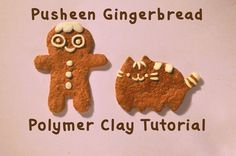 Christmas special: Pusheen the cat gingerbread vs  gingerbreadman polyme...