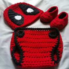 Crochet Deadpool Costume by on Etsy Crochet Baby Costumes, Crochet Baby Clothes, Newborn Crochet, Crochet Hats, Crochet Baby Outfits, Crochet Onesie, Baby Knitting Patterns, Baby Patterns, Crochet Patterns