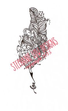 Custom Tattoo Illustration by Stephanie Low Designs on Etsy Paisley/Mandala style and inspired quill feather with blossoms. Stephanie Low Designs Copyright 2015 https://www.facebook.com/StephanieLowDesigns kepeann@gmail.com