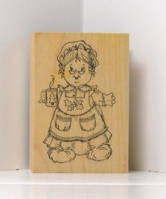 Mrs. Santa Clause with Hot Cocoa Rubber Stamp by PollysPlace, $4.99
