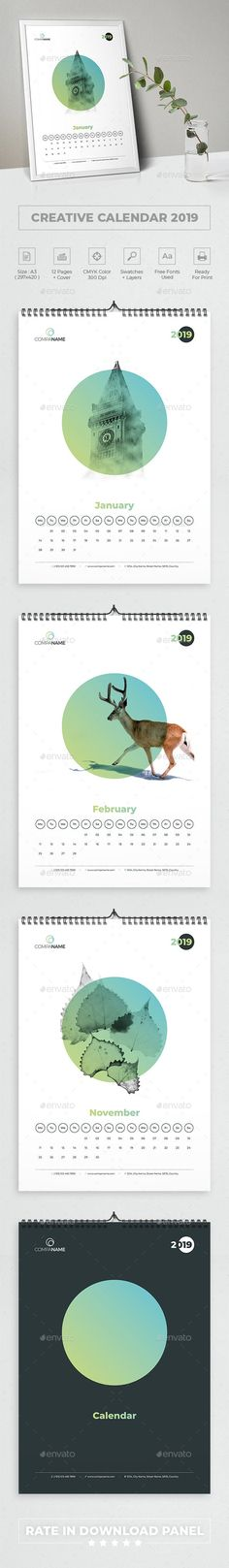 #Creative #Calendar 2019 - #Calendars Stationery Office Calendar, Calendar 2018, Desk Calendars, Business Calendar, Creative Calendar, Cleaning Walls, Anime Artwork, Marketing, Deco