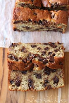 The best Chocolate Chip Banana Bread ever! Used 4 bananas and no yogourt. Used 1/4 cup white sugar and 1/2 cup brown sugar. Added cinnamon and nutmeg.