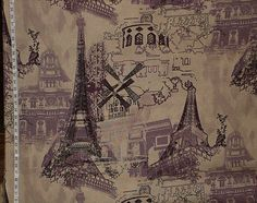 Eiffel tower fabric Paris France French purple toile home decorating retro modern vintage look yardage available. $24.00, via Etsy.