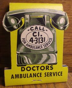 Ambulance Service #contour #MatchBook To order your business' own branded #matchbooks GoTo: www.GetMatches.com or CALL 800.605.7331 TODAY!