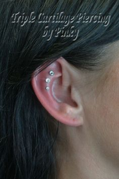 Triple Cartilage Piercing Pinky's Piercings and Fine Body Jewelry