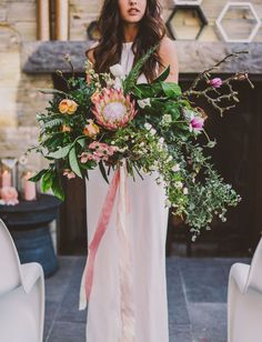 Oversized protea bouquet for the bride