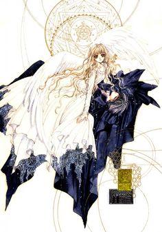 "Kamui Shirou & Kotori Monou with white angel wings from ""X"" series by manga artist group CLAMP."