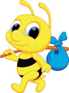 Illustration about Cute bee cartoon go wander. Illustration of drawing, animal, baby - 40510538 Cartoon Bee, Cute Cartoon, Cartoon Drawings, Cute Drawings, Bee Pictures, Bee Pics, Painted Rock Animals, School Painting, Cute Good Morning
