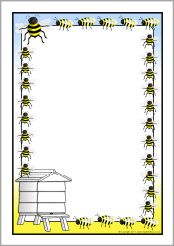 Bee-Themed Page Borders Page Boarders, Bee Crafts, Daycare Crafts, Free Printable Coloring Pages, Printable Labels, Bee Free, Scrapbook Frames, School Posters, Borders For Paper