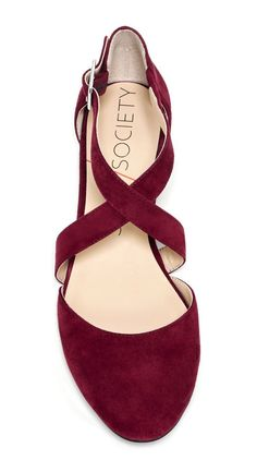 Burgundy criss cross flats