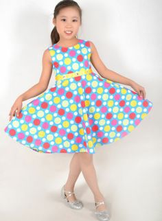 New Girls Dress Colorful Dot Diamond Princess Chirstmas Kids Size 7-14