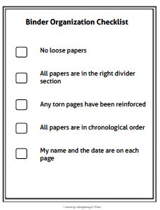 This simple binder organization checklist can be given to students to place at the back of their binder to remind them to keep their binder organized.