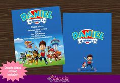 Marshall's invitations. We asked them to add Everest- no problem!  Paw Patrol Printed Double Sided by DannisCuteCreations