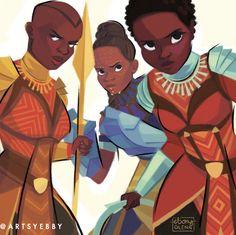 Okoye, Nakia, and Princess Shuri (Black Panther) by Ebony Glenn Marvel Dc Comics, Marvel Heroes, Marvel Avengers, Marvel Women, Marvel Females, Marvel Girls, Shuri Black Panther, Black Panther Marvel, Dc Movies