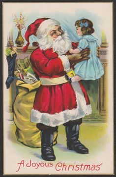 Christmas-Santa-Red Suit-Toys-Large Doll-Blue Dress-Antique Postcard #Christmas
