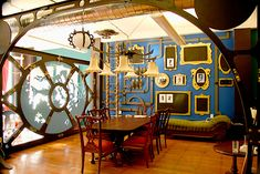 Amazing steampunk Nautilus inspired dining room