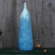 Elegant porcelain bottle with crystalline glaze with blue