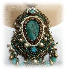Bead embroidered necklace blue turquoise bronz white от budaikata