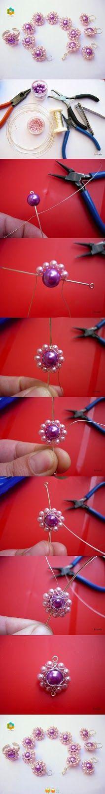 gunadesign, jewelry, wrapped wire, beads, flower
