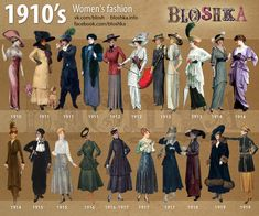 Brief history of fashion in pictures. Decades Fashion, Fashion Through The Decades, Vintage Outfits, Retro Fashion, Womens Fashion, 1920s Fashion Women, 1900s Fashion, Evolution Of Fashion, 20th Century Fashion
