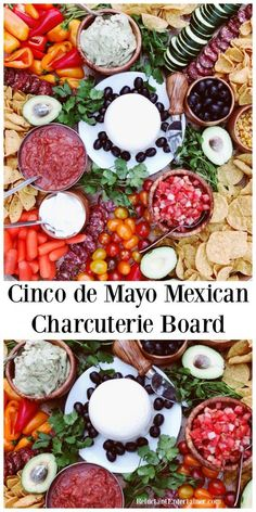 Cinco de Mayo Mexican Charcuterie Board A Mexican Charcuterie Board is a great way to kick off Cinco de Mayo! Or anytime of year, enjoy this cheese board filled with Mexican delights, such as. Mexican Appetizers, Mexican Food Recipes, Appetizer Recipes, Spanish Recipes, Mexican Cooking, Appetizer Ideas, Salad Recipes, Dinner Recipes, Charcuterie Recipes
