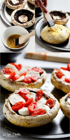 Caprese Stuffed Garlic Butter Portobellos | http://cafedelites.com Simple Healthy Dinner Recipes, Easy Dinner For 2, Clean Eating Recipes For Dinner, Delicious Meals, Yummy Food, Healthy Recipes, Yummy Recipes, Recipes Dinner, Stuffed Portobello Mushrooms