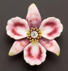 Art Nouveau Enamel and Diamond Orchid Pendant/Brooch