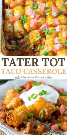Cook up a deliciously cheesy taco tater tot casserole with ground beef, cheese, and all your favorite taco toppings. Family favorite dinner recipe. #adventuresofmel #tacotuesday #casserole