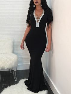 b6a97defaa New Black Sequin Cross Back Bodycon Mermaid V-neck Sparkly Glitter Elegant Party  Maxi Dress