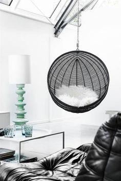 HK-Living Rotan hangstoel bal zwart