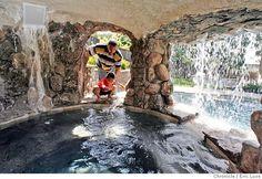Waterfall cave hot tub