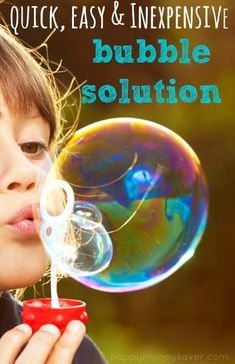 I love this homemade soap bubble recipe because the ingredients are so simple! My kids had hours of fun making huge bubbles that took… Bubble Solution Recipe, Homemade Bubble Solution, Diy Soap Bubbles, Homemade Bubbles, Bubble Diy, Bubble Wands, Giant Bubbles, Blowing Bubbles, Homemade Bubble Recipe