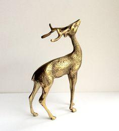 Vintage Brass Deer Figurine Seven Inch by sweetserendipityvint