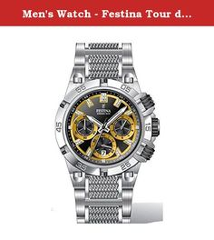 Men's Watch - Festina Tour de France - Chrono Bike - F16774/7. Case - Case Material: Stainless Steel (brushed/polished) - Case Shape: Round - Case Colour: Silver - Bezel Function: Minute Scale - Bezel made of: Stainless Steel (brushed/polished) - Crystal: Mineral crystal - Back: Stainless steel back Movement - Movement: Quartz - Calendar: Date - Complications: 3 (Chronograph: Minutes, Seconds, 1/10 Seconds) - Dial Colour: Black, Yellow - Dial Style: Multi-Level - Illuminated: fluorescent...