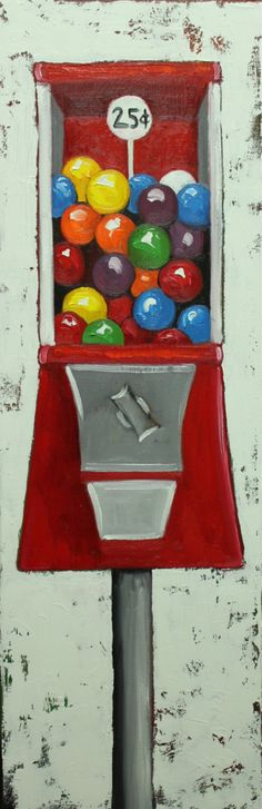 Gumballs 12 12x36inch original oil painting by Roz on Etsy, $275.00