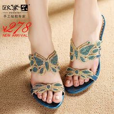 Shoes 2013 female genuine leather handmade diamond high-heeled shoes luxury butterfly rhinestone sandals $107.43