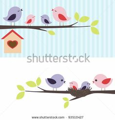 Family of birds sitting on a branch. Two variations. by Yulia M., via Shutterstock