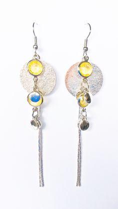 http://www.tibadesign.com Boucles d'oreilles disque argent et perles jaunes