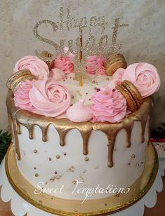 Gold Drip cake Birthday Cake Bakery, Gold Drip, Bakery Cakes, Drip Cakes, Wedding Cakes, Special Occasion, Cupcakes, Sweet, Desserts