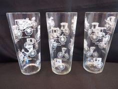 Vintage Old Cars 12 oz. Drinking Water Glasses Set of 3