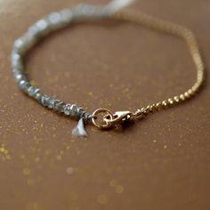 Labradorite Bracelet Gemstone Sparkle Gold Chain Silk Cord Delicate Handmade Jewelry on Etsy, $85.00