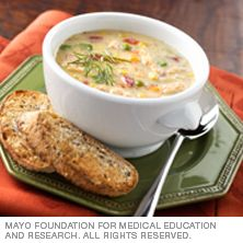 Salmon chowder Mayo Clinic This variation on traditional clam chowder uses salmon — a source of heart-healthy fatty acids. Dash Diet Recipes, Chilli Recipes, Low Sodium Recipes, Salmon Recipes, Fish Recipes, Seafood Recipes, Chowder Soup, Chowder Recipes, Soup Recipes