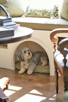 Pet bed under window seat, my home would be perfect with these two things