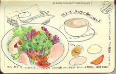 2013_11_15_salada_01_s 松江のヴィア・ボンテンピのモーニング。イタリア風サラダ。  Bread salad! yummy yummy!  for this drawing I used: pigma Faber castell polychromos Moleskine sketchbook  © Belta(WAKABAYASHI Mayumi )