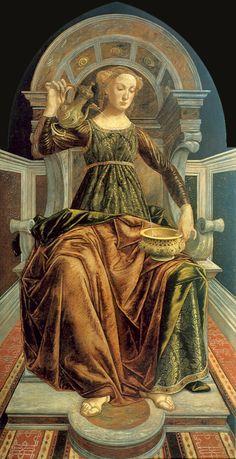 SANDRO BOTTICELLI ( 1445 - 1510) and PIERO DEL POLLAIUOLO (1443 – 1496)   Temperance - Galleria degli Uffizi, Florence