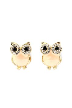 Peachy Crystal Owl Earrings