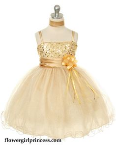 gold flowergirl dress. My niece would love the sparkles :)
